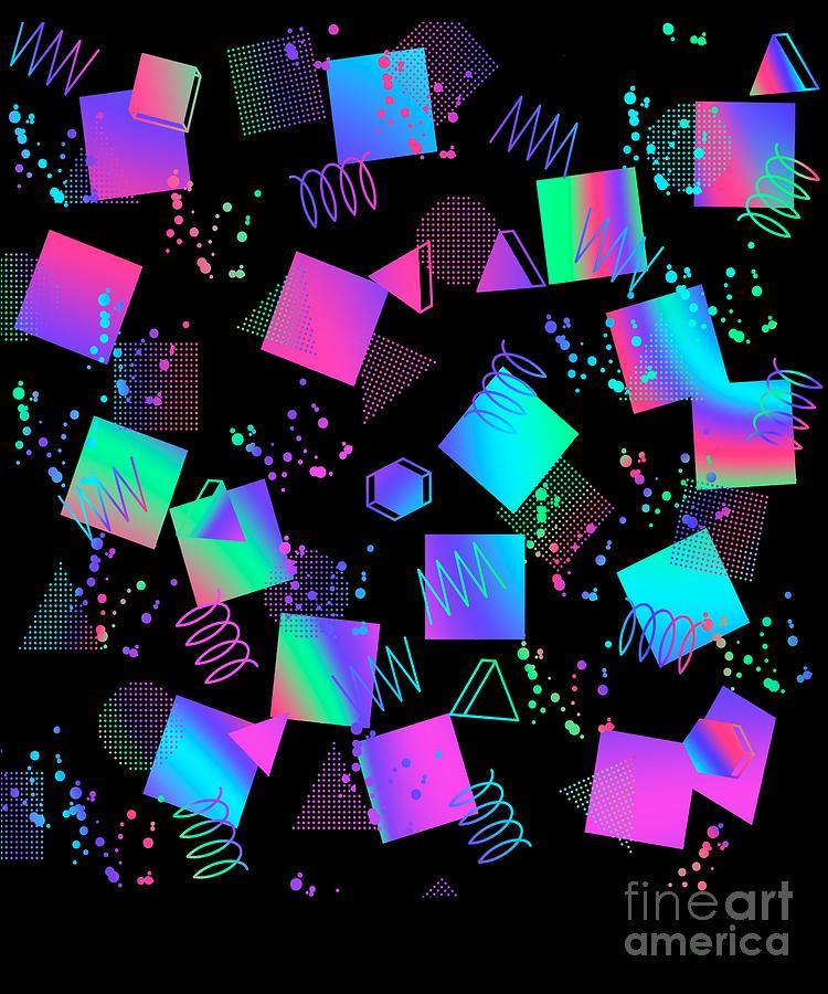 Memphis Digital Art - Retro Geometric Pattern 80s 90s Gift Memphis Style Design design by DC Designs SuaMaceir