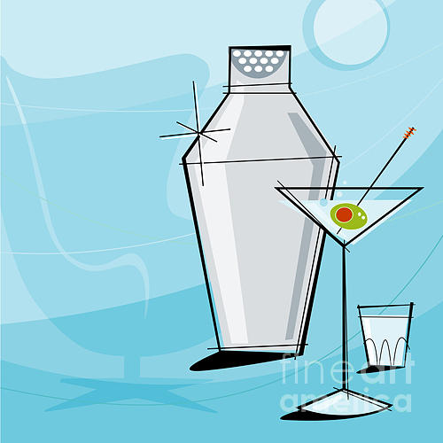 Martini Photograph - Retro Martini Vignette With Shaker And by Diana Rich