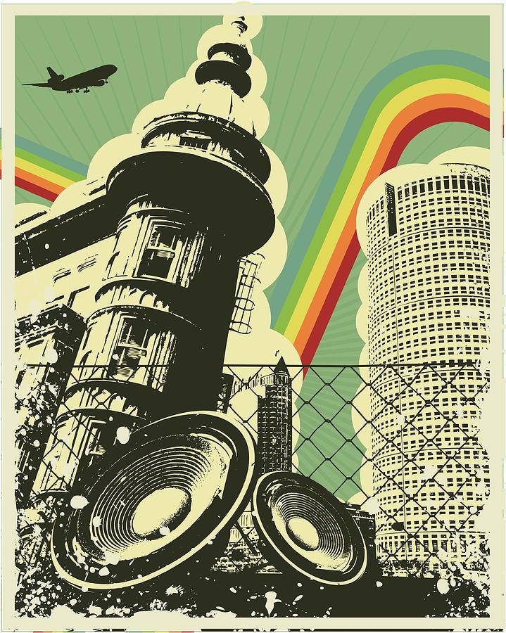 Retro Music Town Digital Art by Sengerg