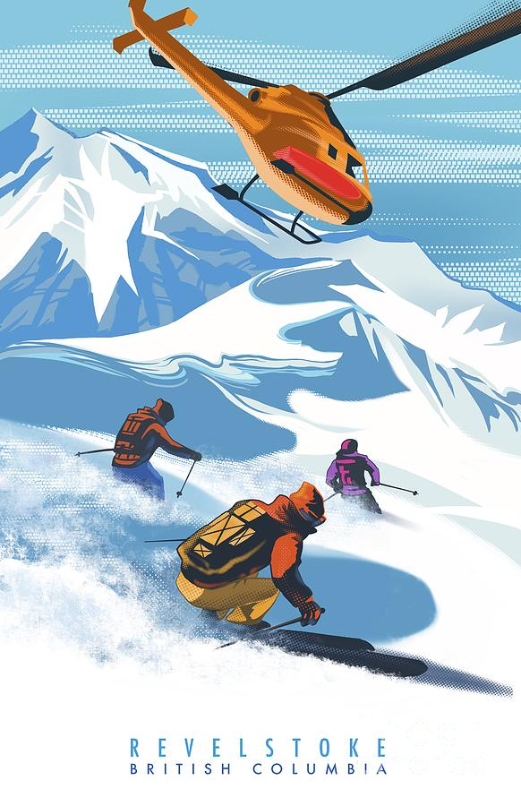 Retro Revelstoke Heliski Travel Poster by Sassan Filsoof