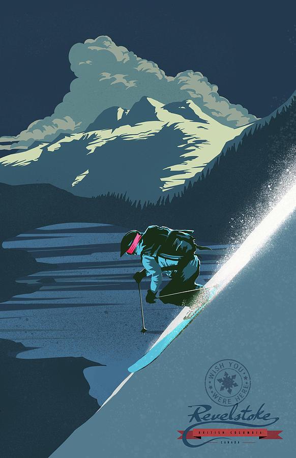 Revelstoke Painting - Retro Revelstoke Ski Poster by Sassan Filsoof