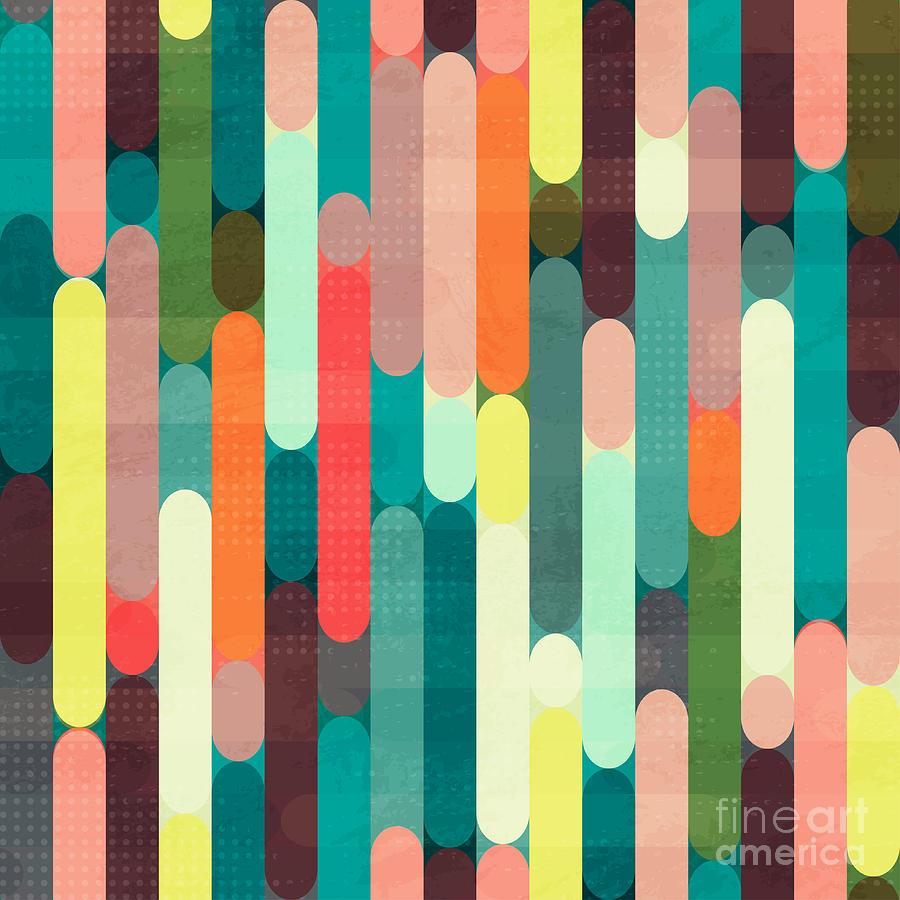 Color Digital Art - Retro Stripe Seamless Pattern With by Gudinny