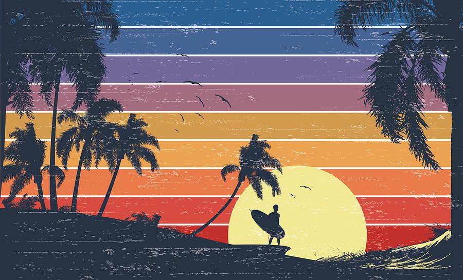 Retro Surfer Sunset Digital Art by Kycstudio