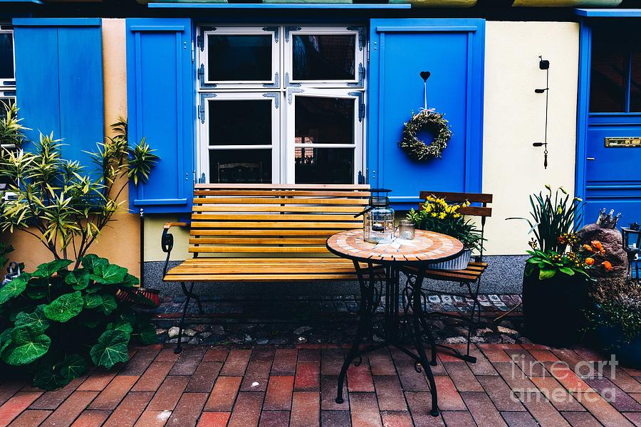 Sensational Retro Table And Bench Next To The House In The Old Town Of Stralsund Machost Co Dining Chair Design Ideas Machostcouk
