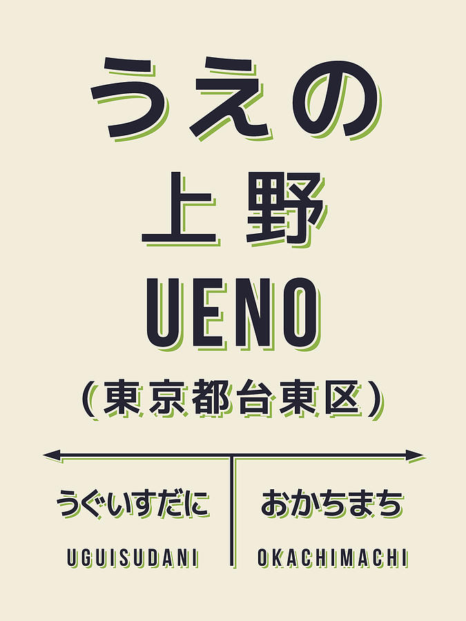Poster Digital Art - Retro Vintage Japan Train Station Sign - Ueno Cream by Ivan Krpan