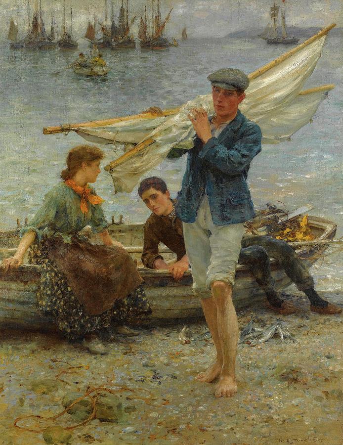 Henry Scott Tuke Painting - Return From Fishing, 1907 by Henry Scott Tuke