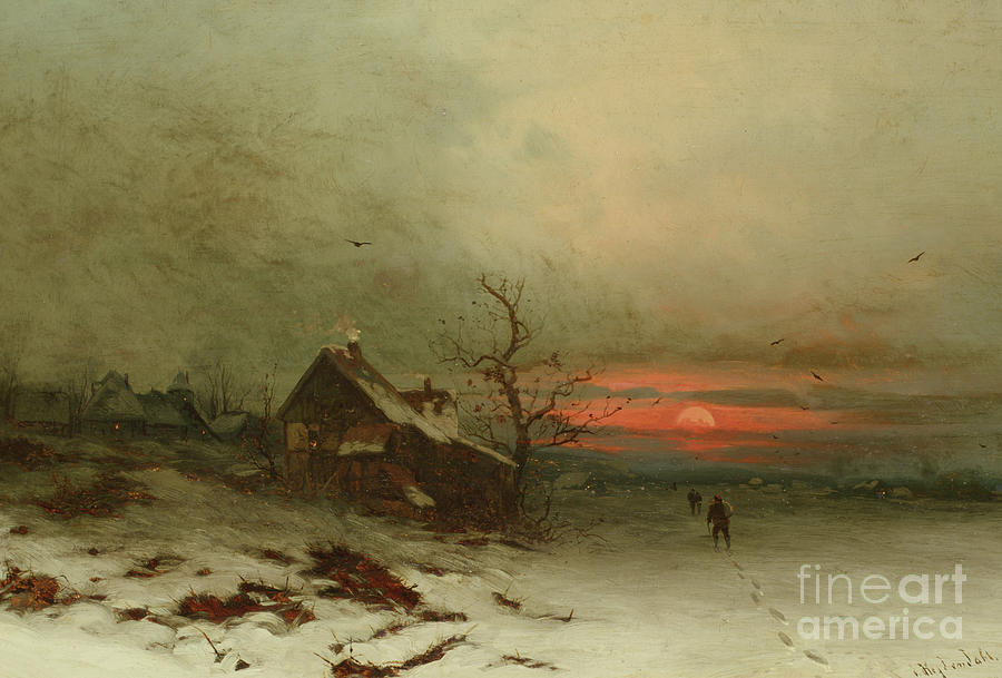Snow Painting - Returning Home At Sunset by Friedrich Nicolai Joseph Heydendahl