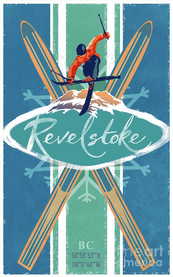Revelstoke Ski Poster by Sassan Filsoof