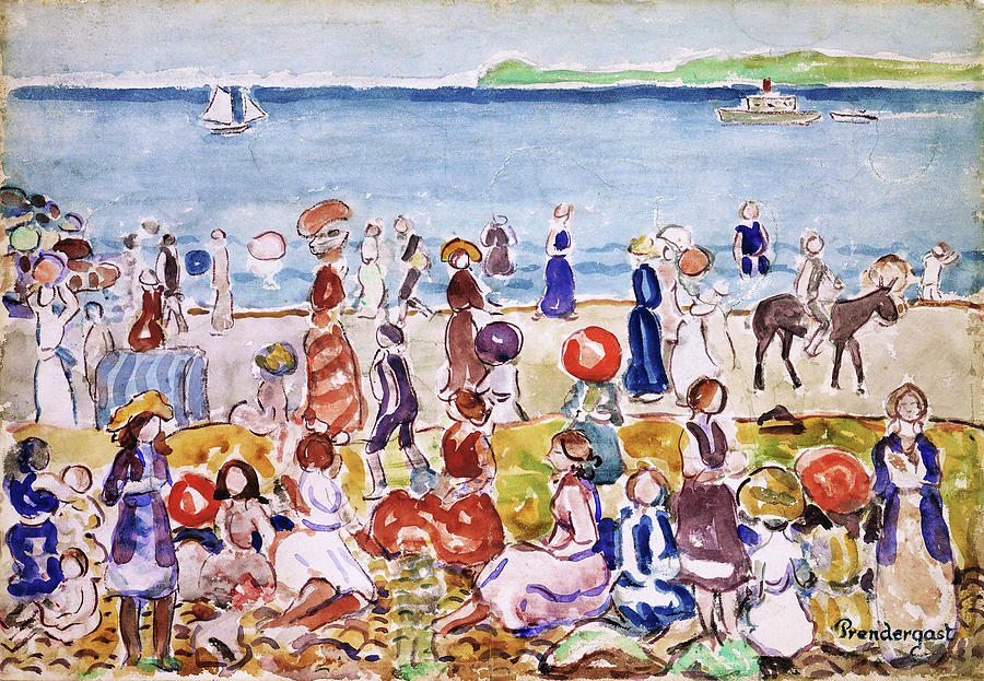 Usa Painting - Revere Beach No.2 - Digital Remastered Edition by Maurice Brazil Prendergast