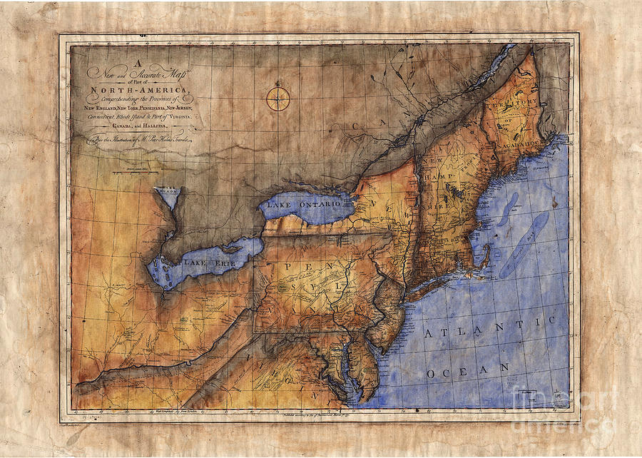 Revolutionary War Map Of New York.Revolutionary War Map New York Maine Painting By Lisa Middleton
