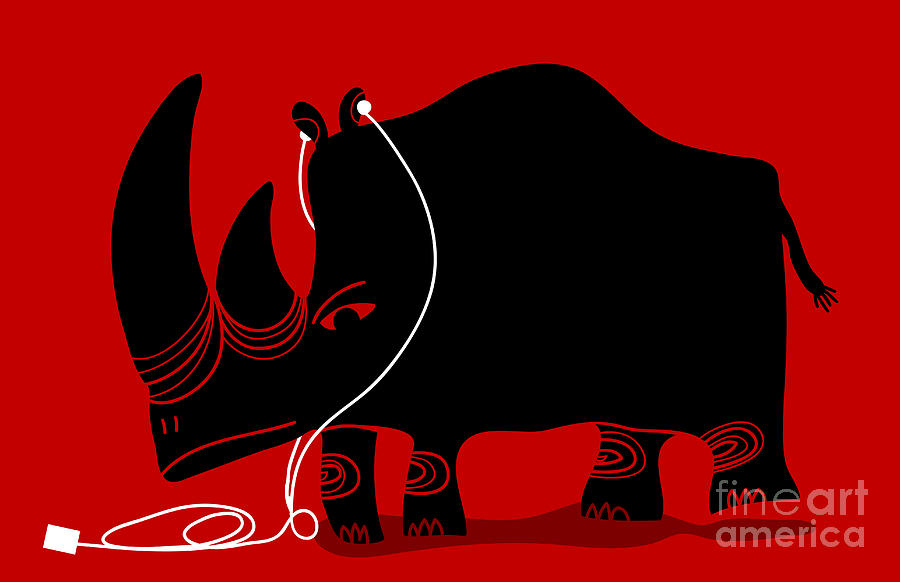 Dancing Digital Art - Rhino With A White Portable Music by Complot
