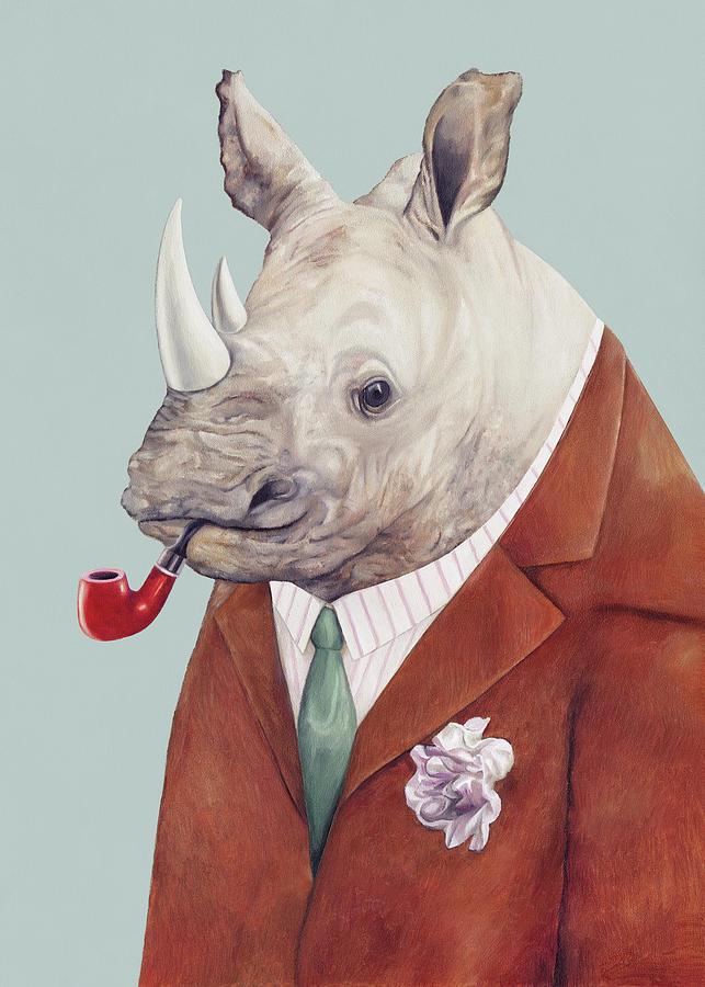 Rhino Painting - Rhinoceros by Animal Crew