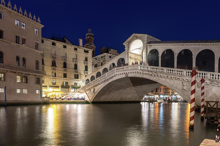 Rialto Bridge Midnight - Venice Italy Night Magic by Georgia Mizuleva