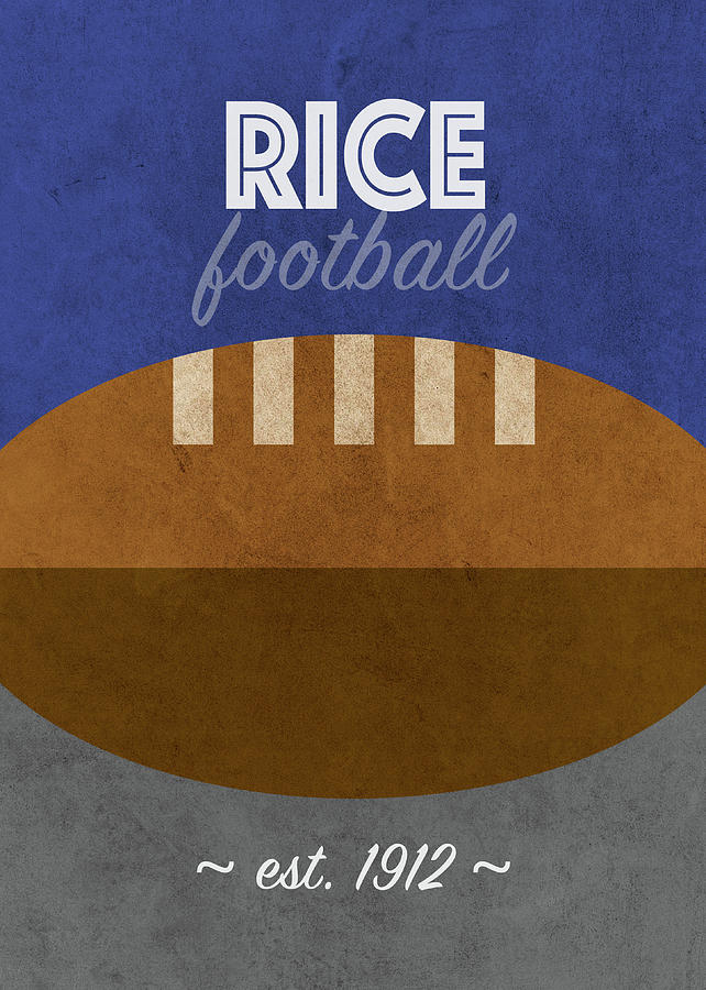 Rice Mixed Media - Rice Football College Sports Retro Vintage Poster by Design Turnpike