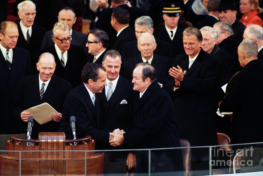 Richard Nixon Shakes Hands With Hubert Photograph by Bettmann