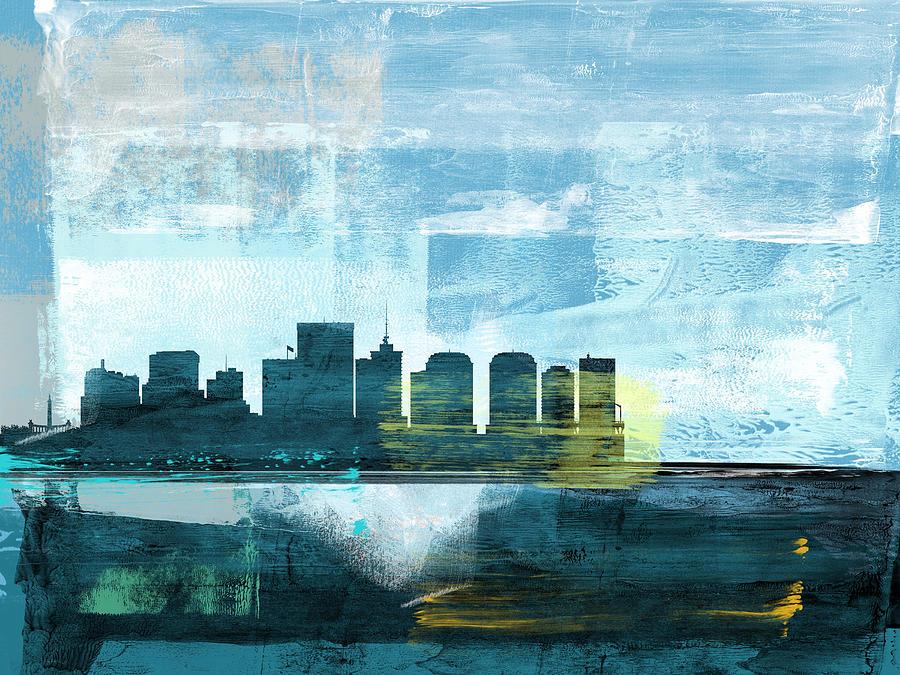 Richmond Mixed Media - Richmond Abstract Skyline II by Naxart Studio