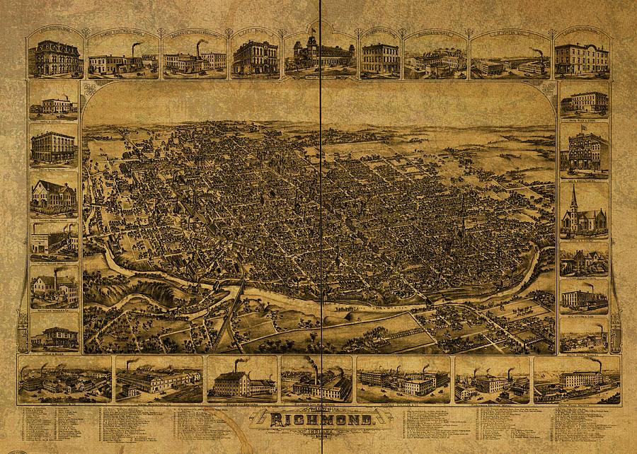 Richmond Indiana Vintage City Street Map 1884 Mixed Media ...
