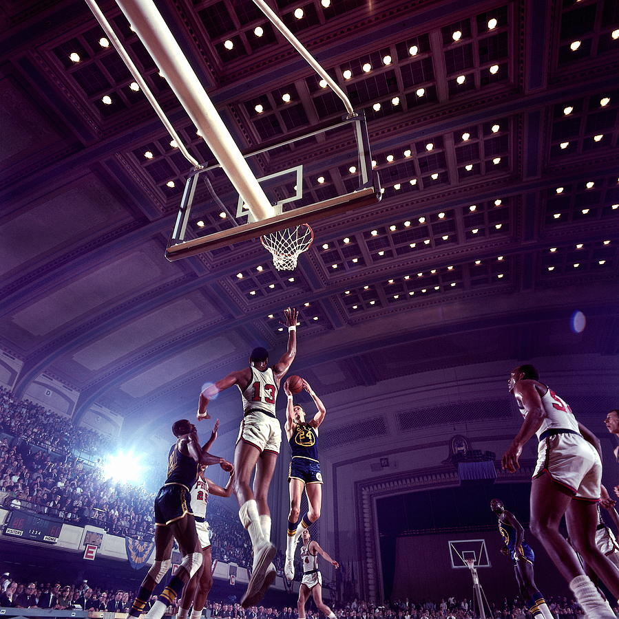 Rick Barry And Wilt Chamberlain Action Photograph by Walter Iooss Jr.