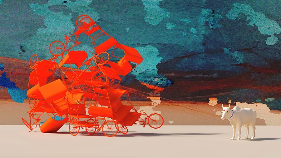 Rickshaw Pileup and Cow by Heike Remy