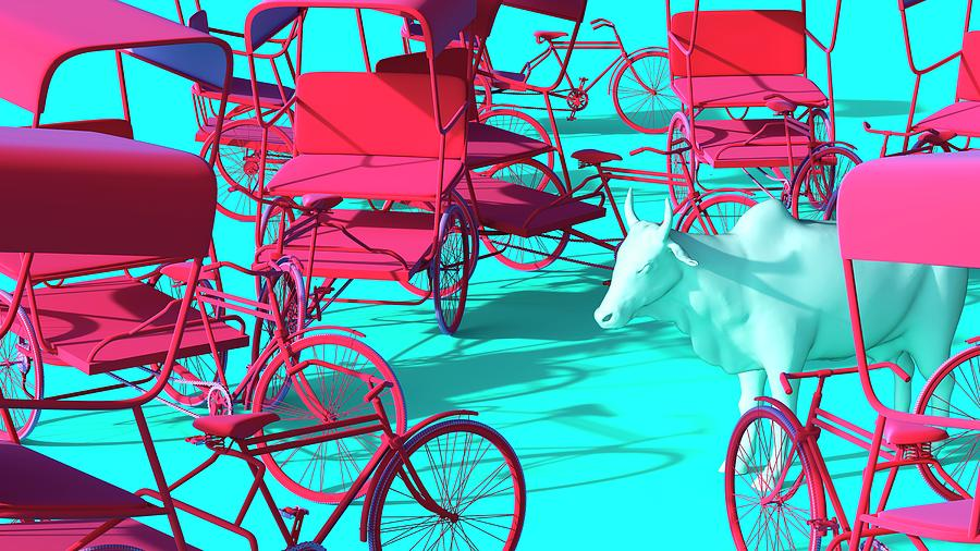 Rickshaws and Cow by Heike Remy