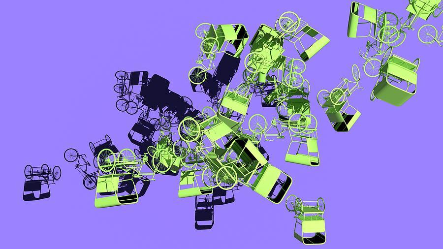 Green Rickshaws Flying by Heike Remy