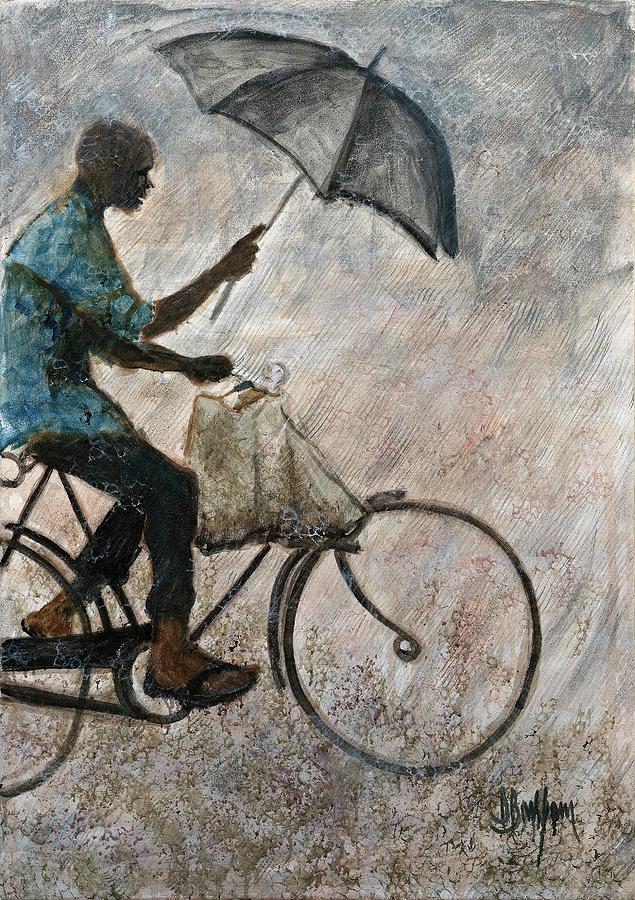 Rider In The Rain Painting by David Barkham