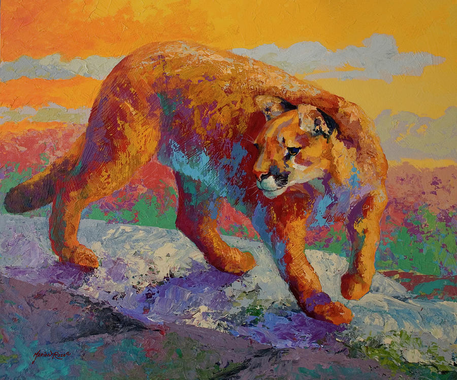 Animals Painting - Ridge Cougar by Marion Rose