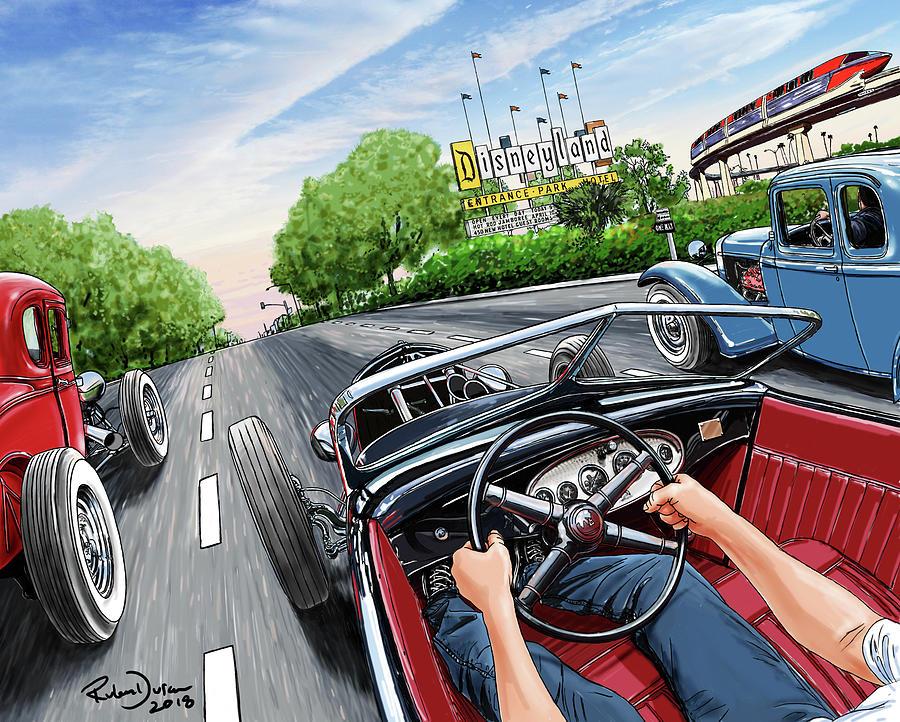 Hot Rod Digital Art - Riff Raff Race 6 by Ruben Duran