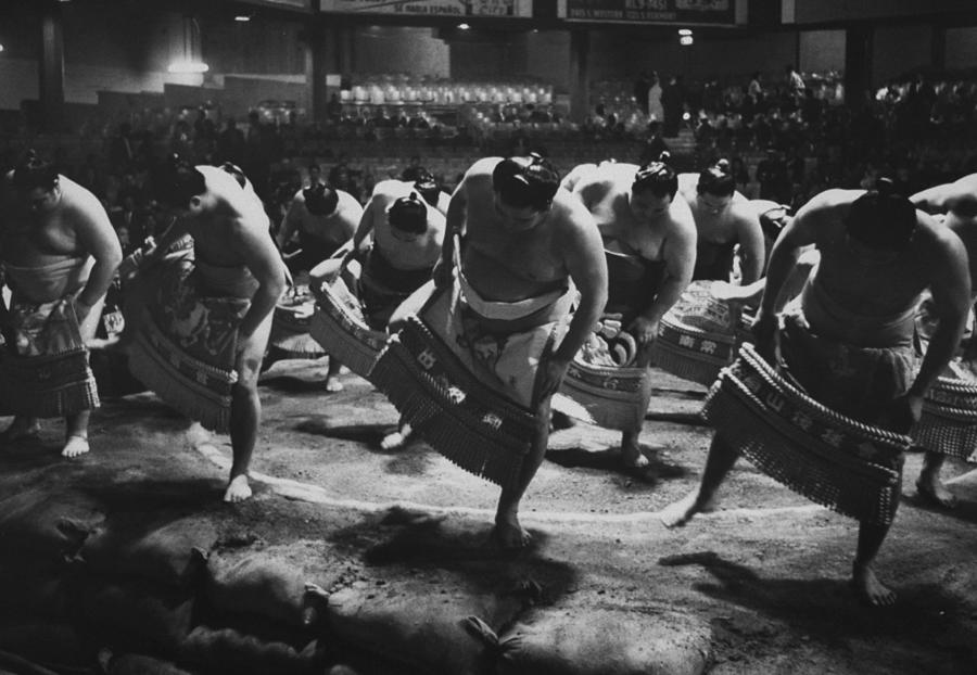Ring Dance Performed By Sumo Wrestlers Photograph by Bill Ray