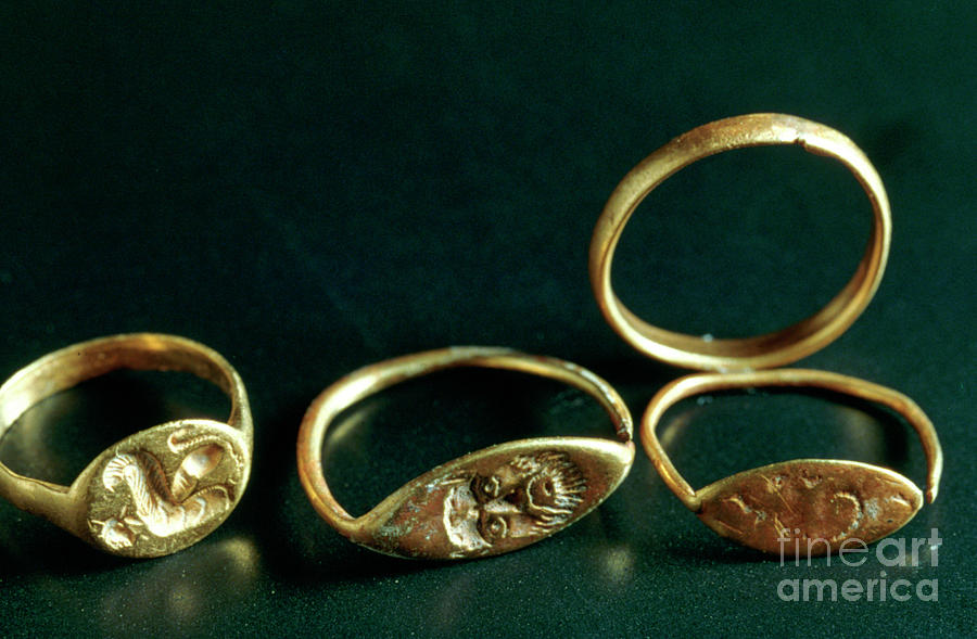 Rings, Jewellery, Tunisia, C3rd-4th Drawing by Print Collector