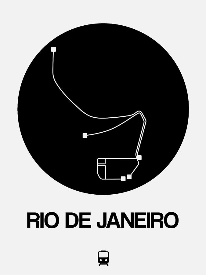 Vacation Digital Art - Rio De Janeiro Black Subway Map by Naxart Studio