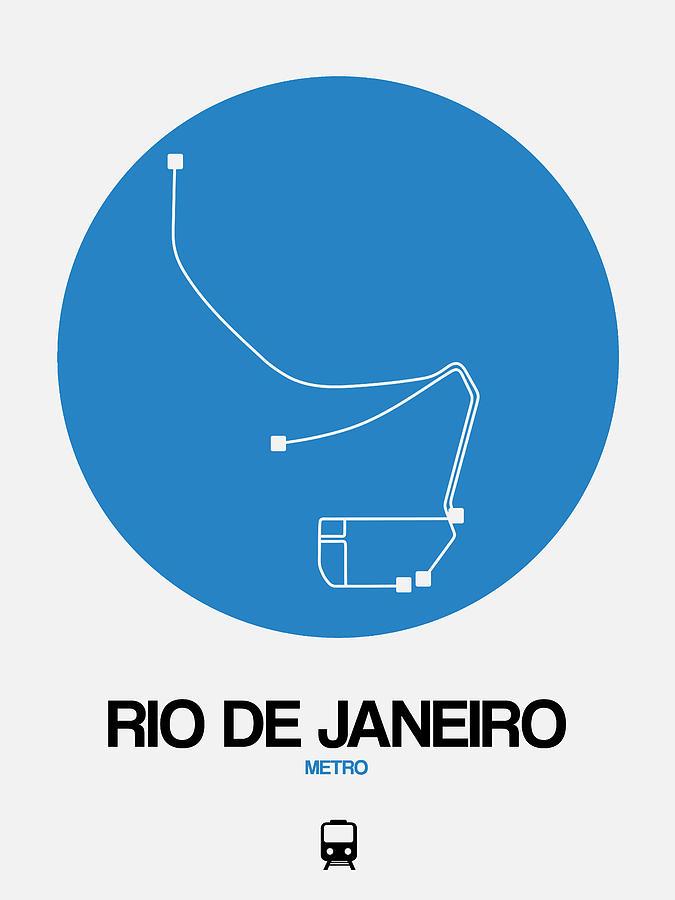 Vacation Digital Art - Rio De Janeiro Blue Subway Map by Naxart Studio
