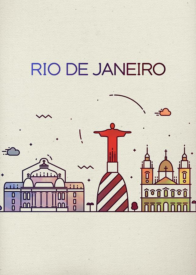 Rio De Janeiro Mixed Media - Rio De Janeiro Brazil Whimsical City Skyline Fun Bright Tall Series by Design Turnpike