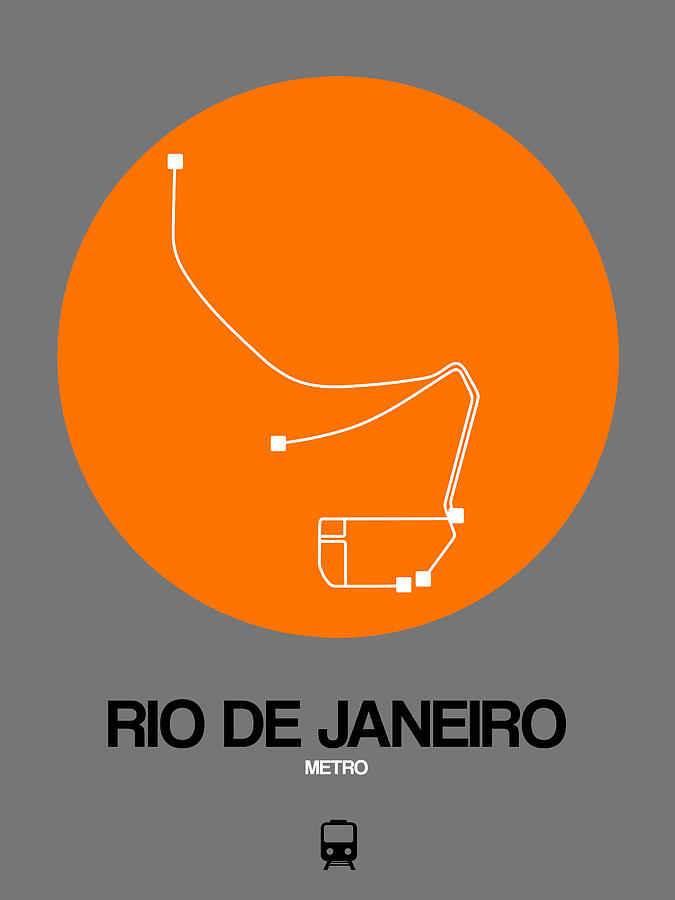 Vacation Digital Art - Rio De Janeiro Orange Subway Map by Naxart Studio