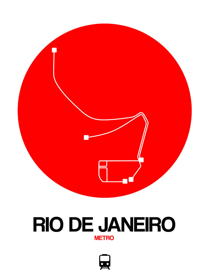 Vacation Digital Art - Rio De Janeiro Red Subway Map by Naxart Studio