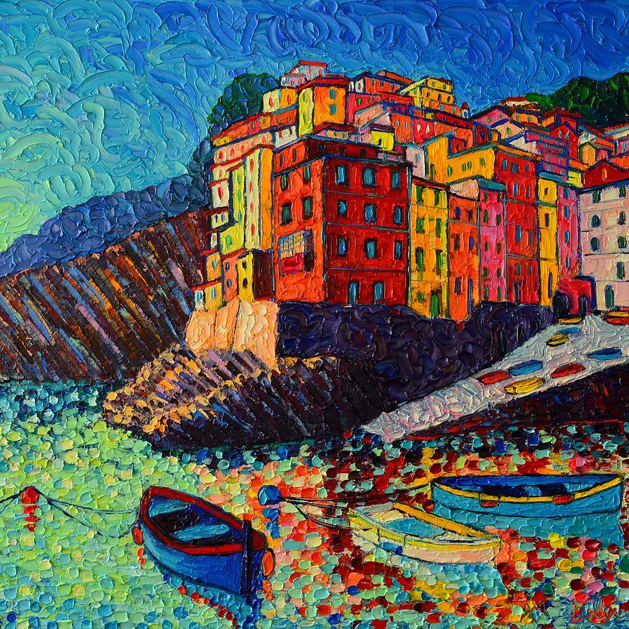 RIOMAGGIORE AT DUSK CINQUE TERRE ITALY textural impressionist knife oil painting Ana Maria Edulescu by ANA MARIA EDULESCU