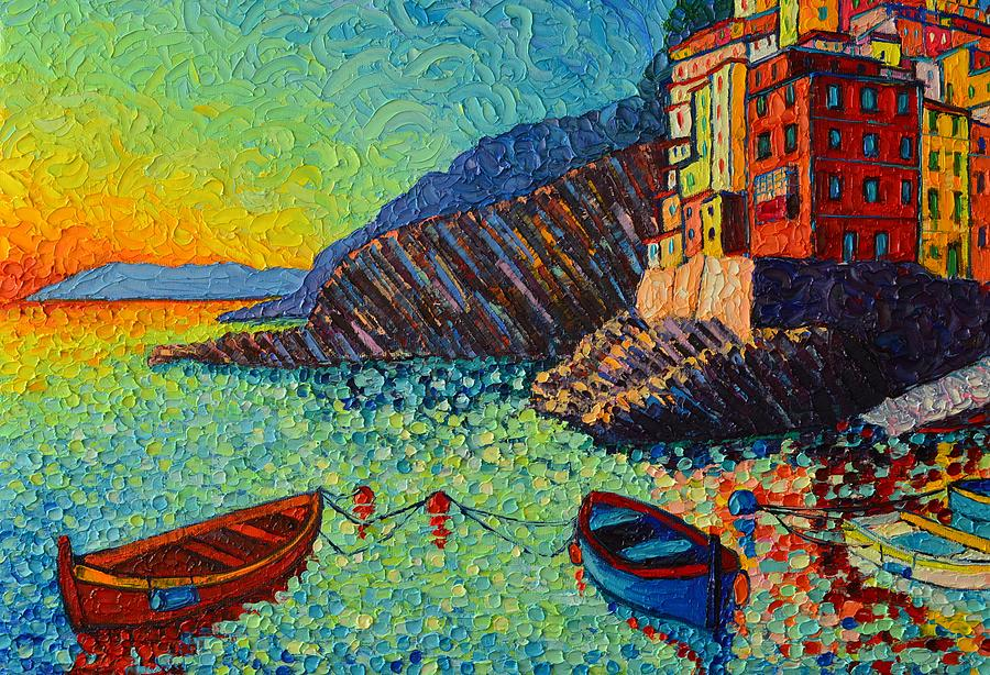 RIOMAGGIORE BOATS AT SUNSET CINQUE TERRE ITALY textural palette knife painting by Ana Maria Edulescu by ANA MARIA EDULESCU