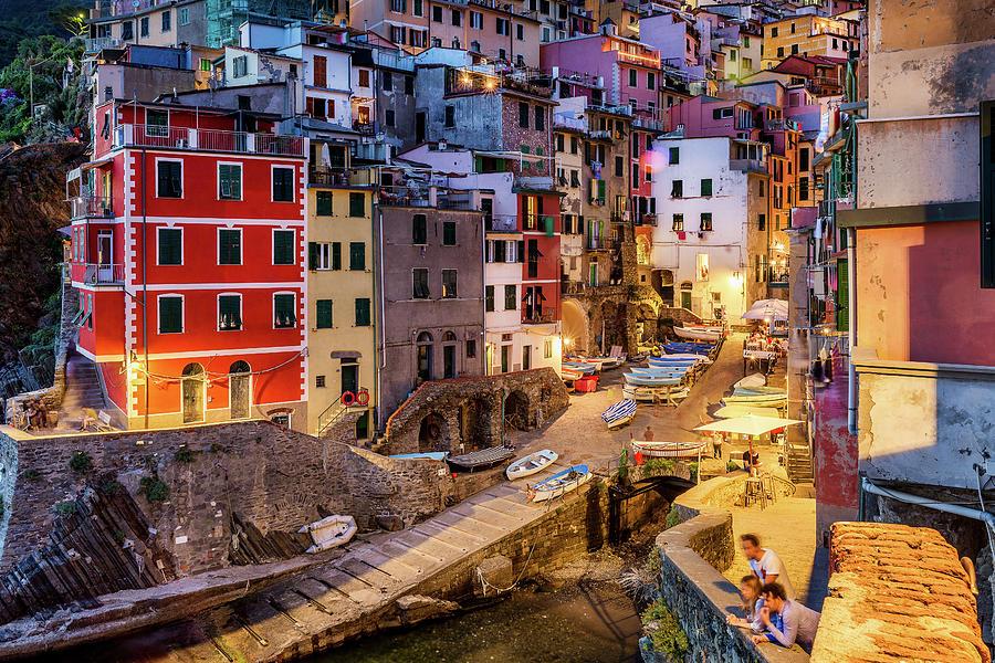 Riomaggiore Photograph - Riomaggiore at night by Andrei Dima