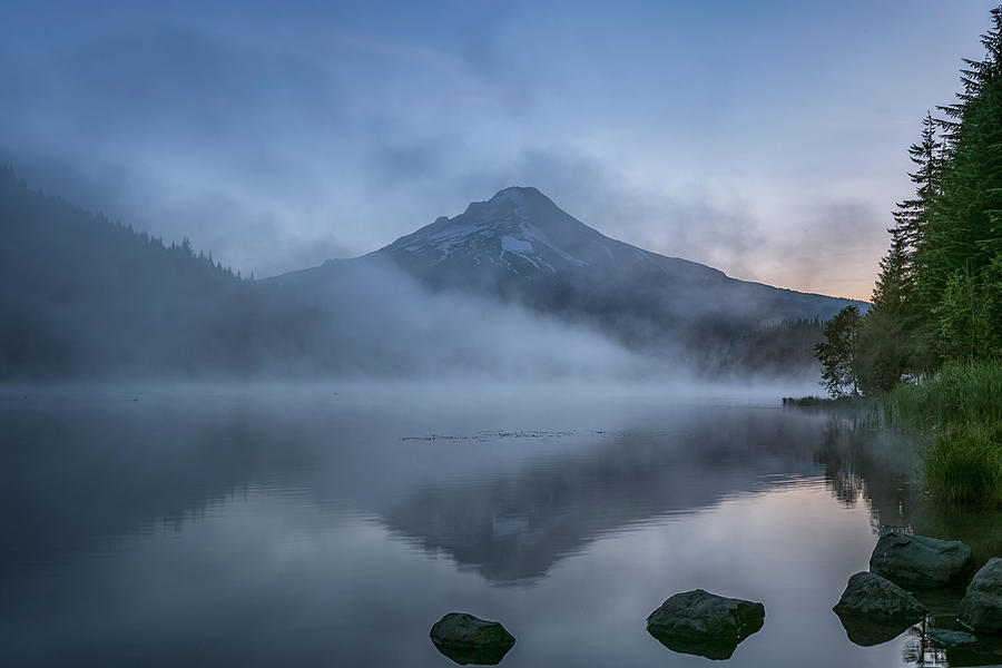Rising Light and Mist on Trillium Lake by Belinda Greb