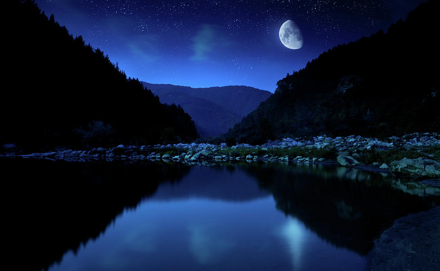 Rising Moon Over Lake Photograph by Da-kuk