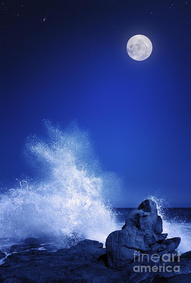 Big Digital Art - Rising Moon Over Rocky Coastline by Johan Swanepoel