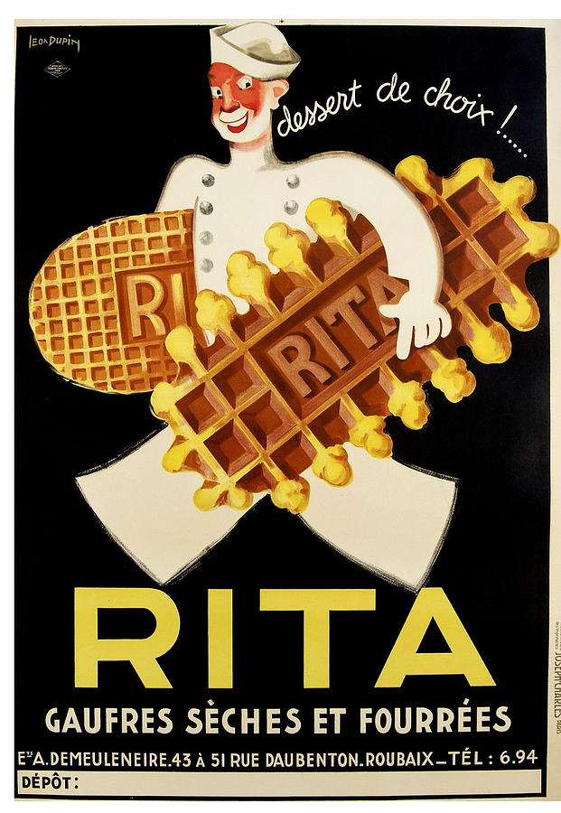 Rita - Gaufres Seches Et Fourrees - Vintage Food Advertising Poster