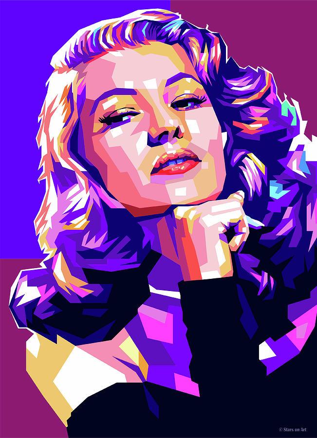Rita Hayworth illustration by Stars on Art