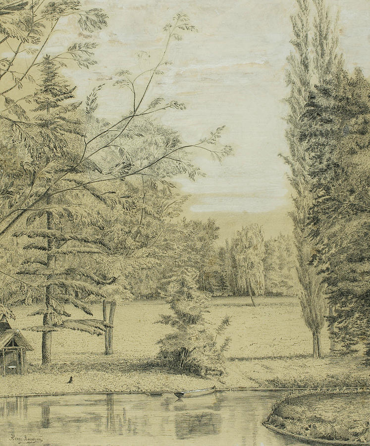 French Painters Drawing - River And Park Landscape by Henri Rousseau