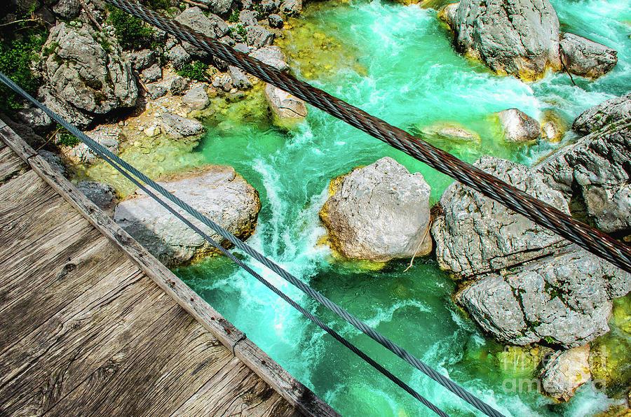 river crossing foot bridge look down soca isonzo river by Luca Lorenzelli