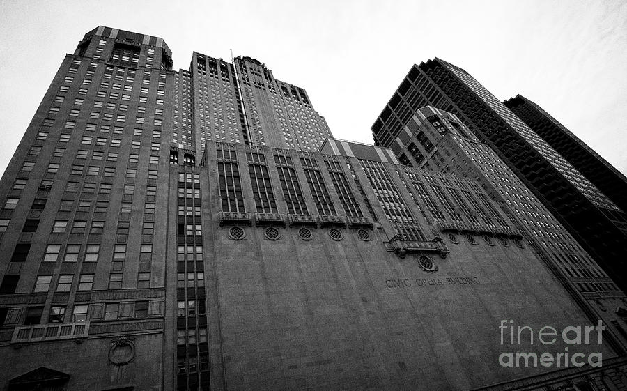 Chicago Photograph - River Facing Side Of The Civic Opera Building Chicago Illinois United States Of America by Joe Fox