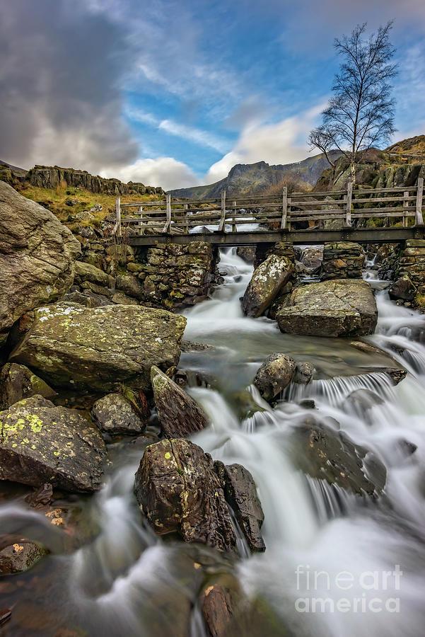 River Footbridge Snowdonia by Adrian Evans
