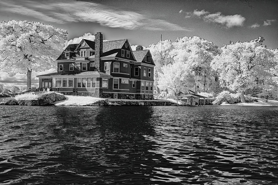 River House In Black And White by Tom Singleton