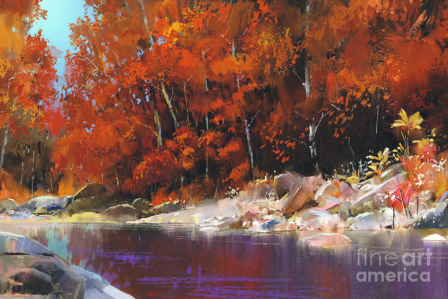 Forest Digital Art - River In The Autumn Forest,landscape by Tithi Luadthong