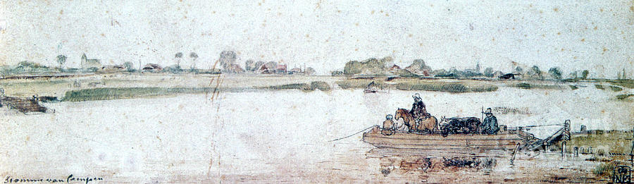 River Landscape With Rope Ferry, Early Drawing by Print Collector